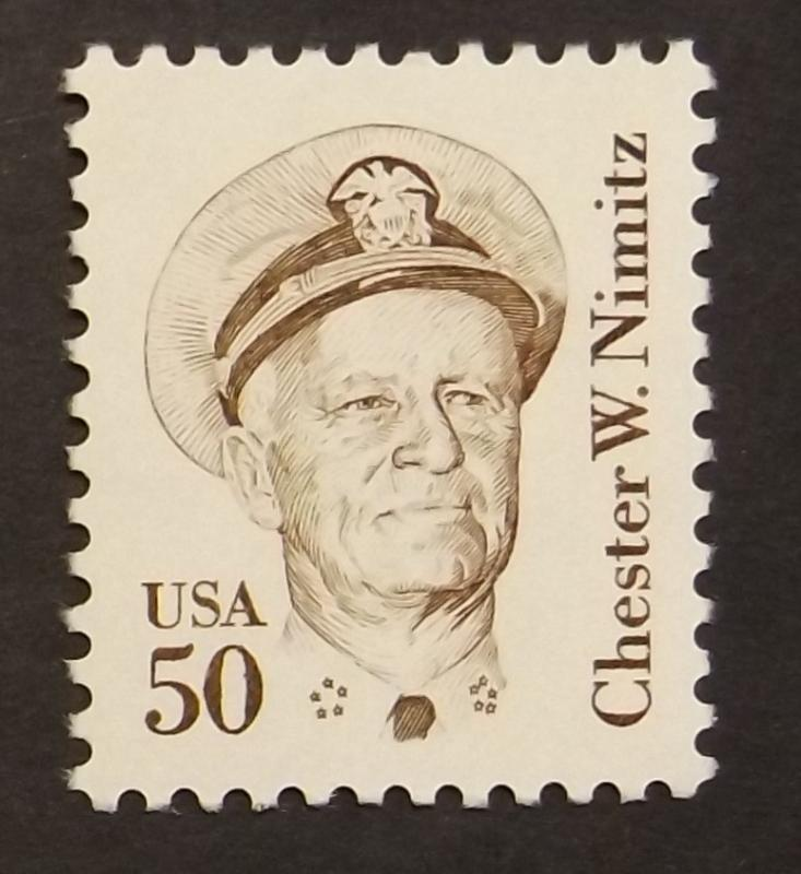 1869a, 50c Chester W. Nimitz,brown, perf. 11.2, lg block tag, dull gum (6523)