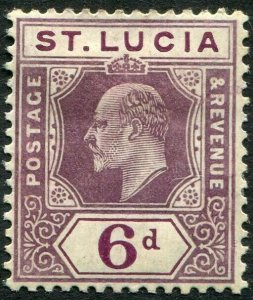 ST LUCIA-1904-10 6d Dull Purple & Violet Chalk Surfaced Paper Sg 72a MOUNTED/M