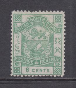 North Borneo Sc 42 MLH. 1887 8c green Coat of Arms