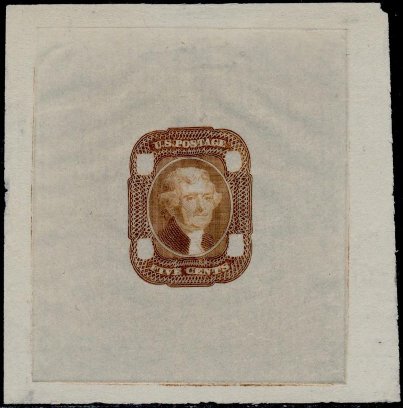 #67-E2a DIE II ESSAY ON PROOF PAPER (RED BROWN) SUPERB BQ4722