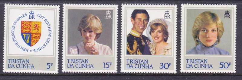 Tristain Da Cunha 310-13 MNH 1982 Princess Diana 21st Birthday Set Very Fine