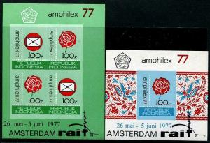 HERRICKSTAMP INDONESIA Sc.# 999A-1000A Amphilex 1977 Imperf Souvenir Sheets