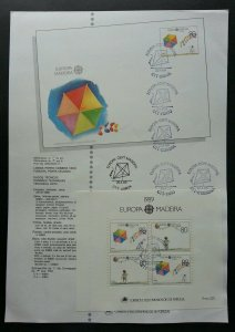 Portugal Europa CEPT Children's Games 1989 Child Play Toy Kite (ms on info sheet