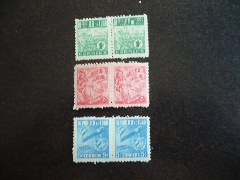 Stamps - Cuba - Scott#445-447 - Mint Hinged Set of 3 Stamps in Pairs