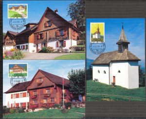 Liechtenstein 1998 Art Paintings Architecture 3 Maxi Cards FDC