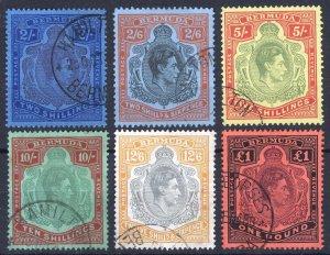 Bermuda 1938 2s-£1 GVI Key Plate SG 116-121 Scott 123-128 VFU Cat £242($310)