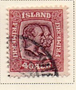 Iceland Sc 81 1907 40 aur claret & violet 2 Kings stamp used