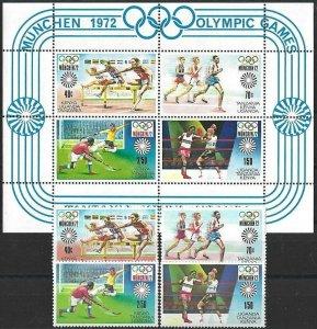 1972 Kenya/Uganda/Tanzania Olympics Munich, complete set+Sheet VF/MNH! LOOK!