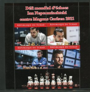 Chad 2021 Chess Championship Nepomiacheti/Carlsen sheet mint nh