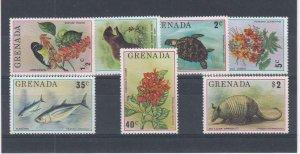 GRENADA (MM74) # 692-698  VF-MNH  VAR$,c 1976  FLORA & FAUNA STAMPS
