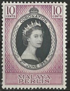 Malaya-Perlis   # 28  QE II Coronation (1)  Unused VLH
