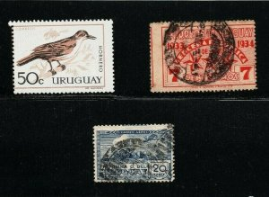 Uruguay 3 stamps with shifted printing nice varieties air showing double imprint