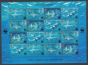 Montserrat WWF Great Hammerhead Shark Sheetlet of 4 sets 1999 MNH