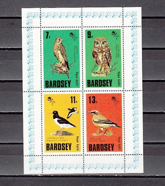 Bardsey, 1979 Cinderella issue. Owl and Birds on a sheet of 4.