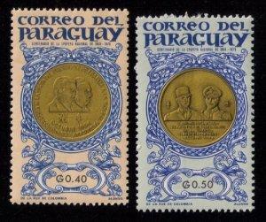 PARAGUAY (1965) MH SCOTT #861-862 PARAGUAYAN MEDELS F-VF
