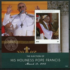 Nevis Popes Stamps 2013 MNH Election Pope Francis Famous People 1v S/S