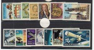ASCENSION (MM153) # 138-151 VF-MVLH  VARp,£  1971  MAN INTO SPACE STAMPS CV $36