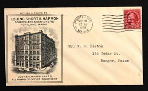 US Stamp Sc# 634 on Amazing Loring Short & Harmon Advert Cover Portland Maine.