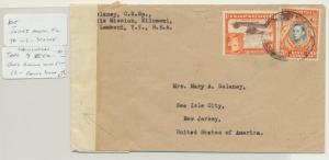 KUT (MOSHI) TO USA 1943 CENSOR(R/12) COVER, SCARCE CENSOR 30c RATE(SEE BELOW)
