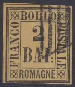 ITALY ROMAGNA 1859 Sc 3 FORGERY MUTE CANCEL F,VF (CV$210)