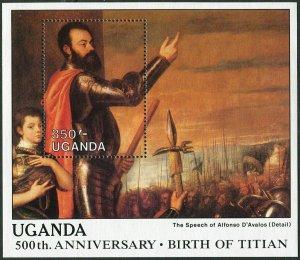 Uganda 635-636,MNH.Michel 615-616 Bl.83-84. Paintings by Titian,1988.
