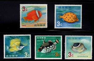 RYUKYU Scott 151-155 MNH** colorful reef fish stamp set