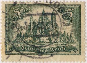ALLEMAGNE / GERMANY / DEUTSCHLAND - 1925 - Mi.367 5Mk Olive-Green Used