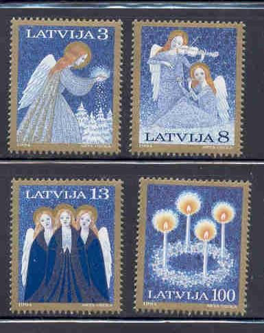 Latvia Sc 385-8 1994 Christmas stamp set mint NH
