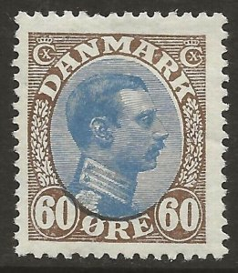Denmark 1913-28 Christian X 60o Brown & Blue #123 F/VF-H CV $52.50