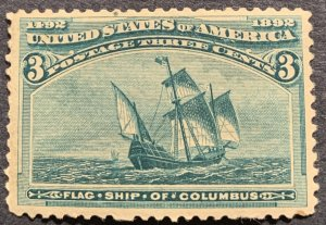 US#232 MNH OG.  1893 3c Columbian Commemorative.