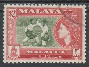 MALACCA 1957 QEII PICTORIAL $2 USED