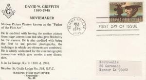 1555 10c  D. W. GRIFFITH - Koutroulis Masonic cachet L/A