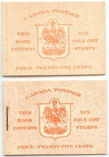 Canada - 1951 4c Orange KGVI Booklets Stapled/Stitched