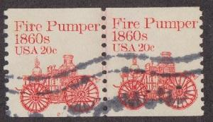 US #1908 Fire Pumper Used PNC Line Pair plate #2