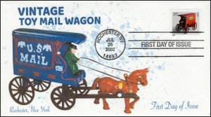 AO-2002-8, 2002, Vintage Toy Mail Wagon, First Day Cover, Add-on Cachet, Coil