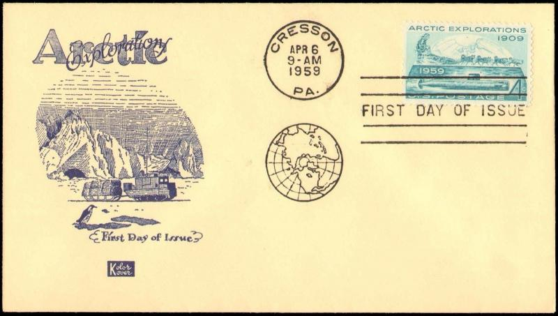 1959 CRESSON FIRST DAY ARCTIC EXPLORATION WITH KOLAR KOVER CACHET