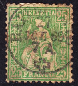 Switzerland Scott 55a  yellow green Fine used with a splendid SON cds. Toned.