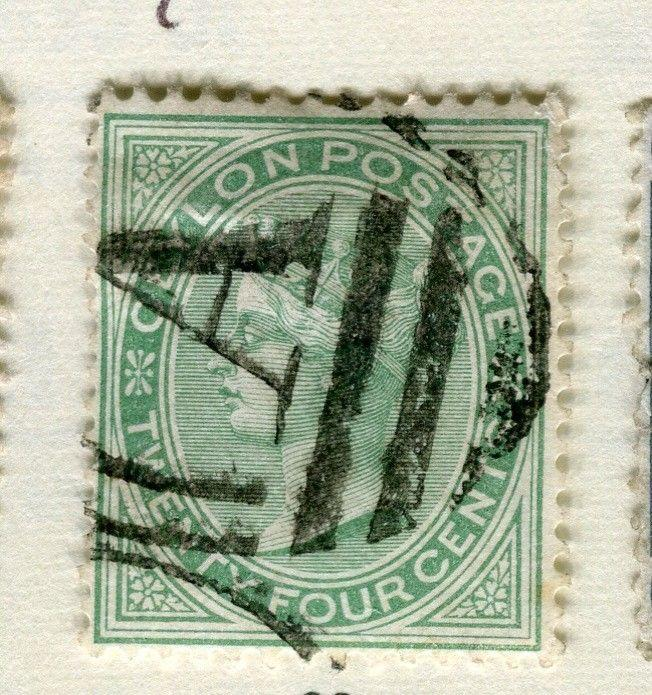 CEYLON 1872 80 Early Classic QC Crown CC Issue Used 24d Value