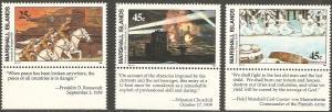 1989 Marshall Islnds Scott 239-241 Invasions Sinking MNH/Tab