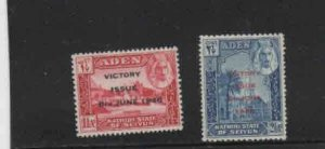 ADEN-SEIYUN #12-13  1946  PEACE ISSUE  MINT VF LH  O.G