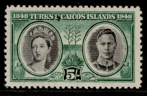 TURKS & CAICOS ISLANDS GVI SG215, 5s black & green, M MINT.