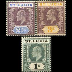ST.LUCIA 1902 - Scott# 46-8 King 2.5p-1s LH