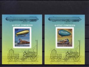 Comoro 1977  Trains/Zeppelins 6 SS Imperf.MNH Mi # Bl.84/89B