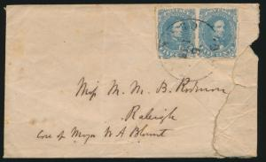 CSA #4 ON COVER VF PAIR TIED TEAR AT RIGHT SENT TO RALEIGH CV $450.00 BP4208