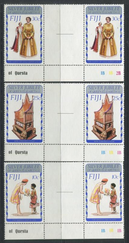 Fiji - Scott 371-373 - General Issue 1977- MNH - Set of 3 Gutter Pairs