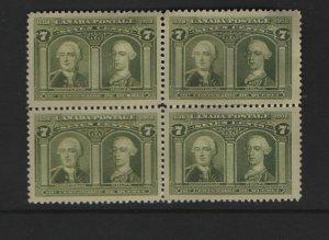 Canada 100 Block Of 4, No Gum, 1908 Generals Montcalm and Wolfe