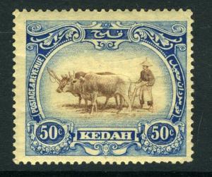 MALAYA (KEDAH)-1924 50c Brown & Grey-Blue watermark crown to left of CA Sg 36bw