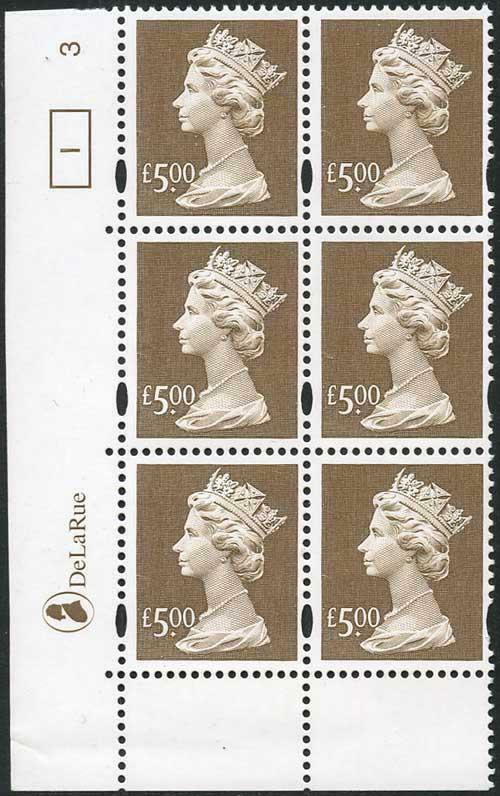 UC21 Five Pound Brown De La Rue U/M Cylinder 1 No Dot (3)