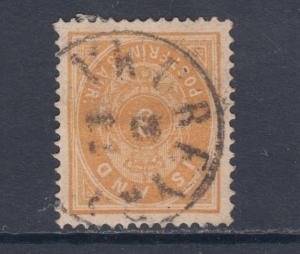 Iceland Sc 15 used 1882 3a orange Numeral F-VF