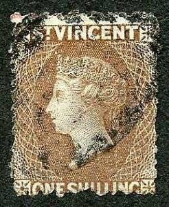 St Vincent SG14 1/- Brown No wmk Perf 11 to 12.5 Cat 160 pounds